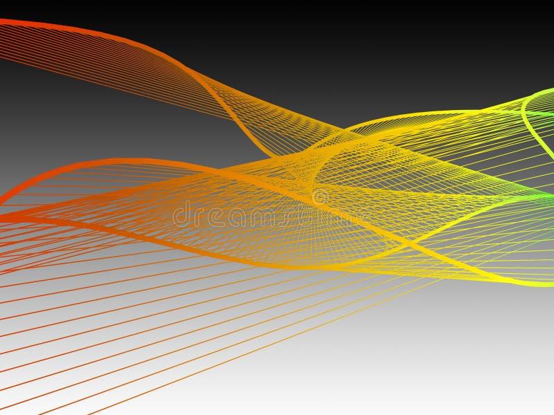 与五颜六色的梯度的动态和明亮的线性螺旋 免版税库存照片