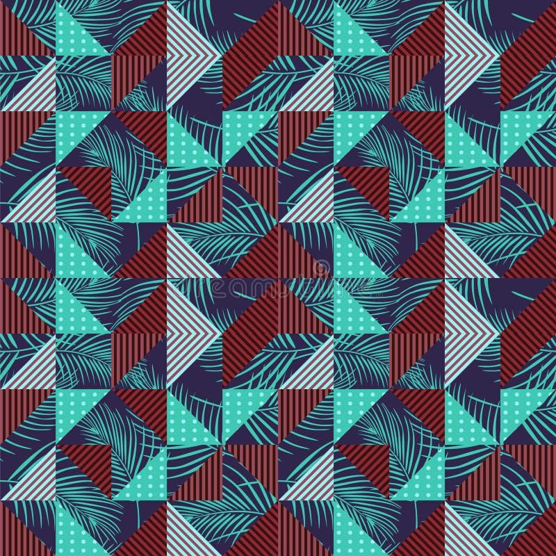 与五颜六色的棕榈叶和几何三角的无缝的样式传染媒介 库存图片