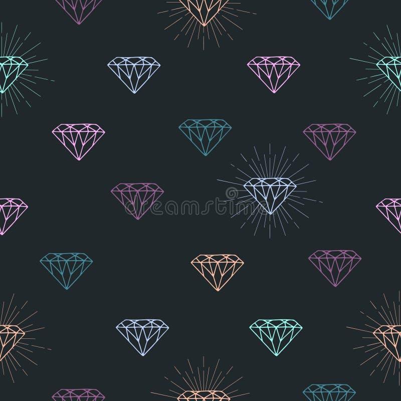 与五颜六色的概述金刚石标志的无缝的样式 向量例证