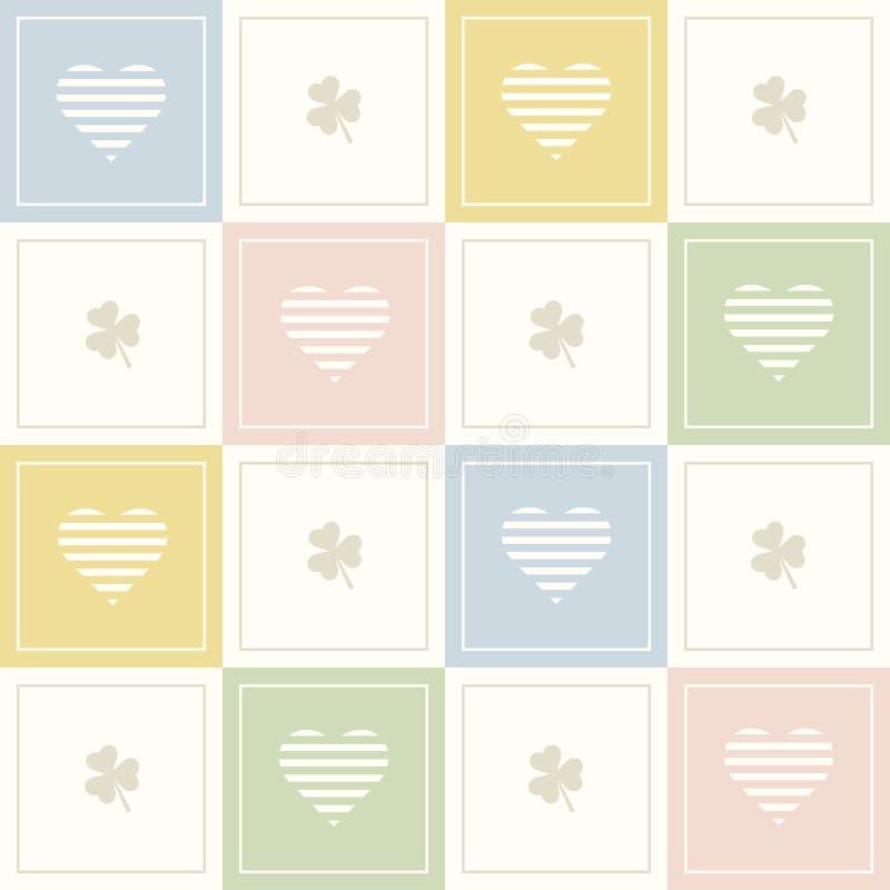 与五颜六色的正方形、三棵叶子三叶草和精美心脏的抽象几何样式背景 库存例证