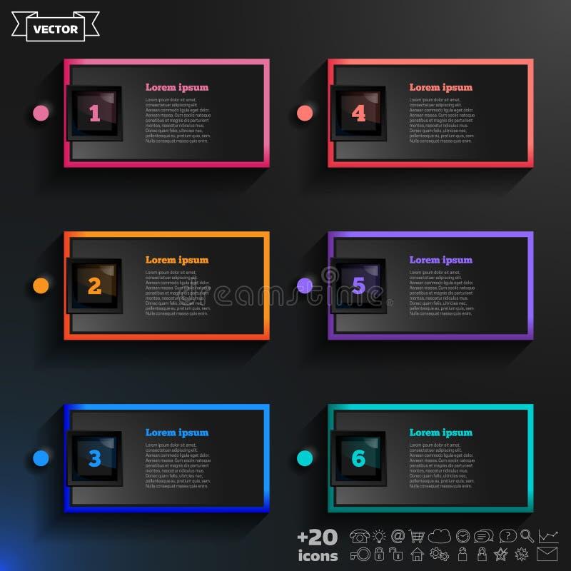 与五颜六色的正方形的传染媒介infographic设计名单 免版税库存照片