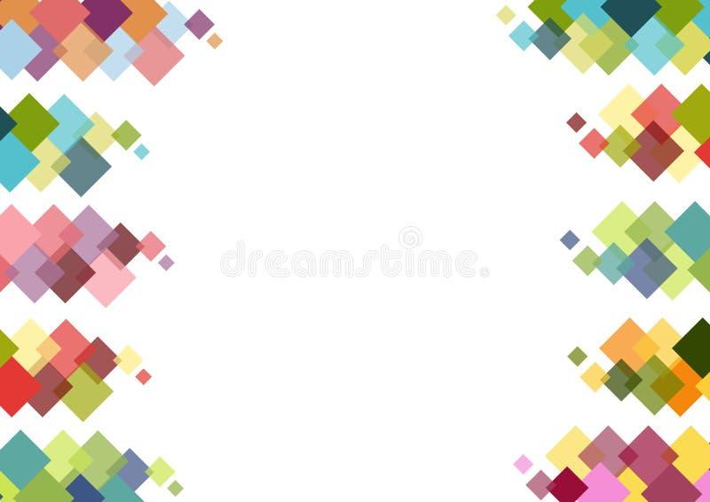 与五颜六色的正方形的装饰框架在白色背景 库存照片