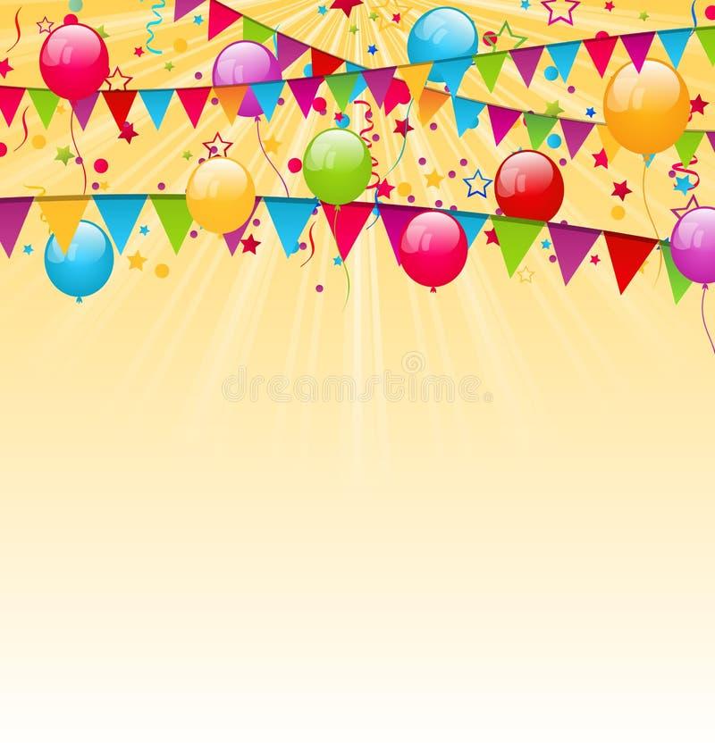 与五颜六色的气球、垂悬的旗子和骗局的假日背景 皇族释放例证