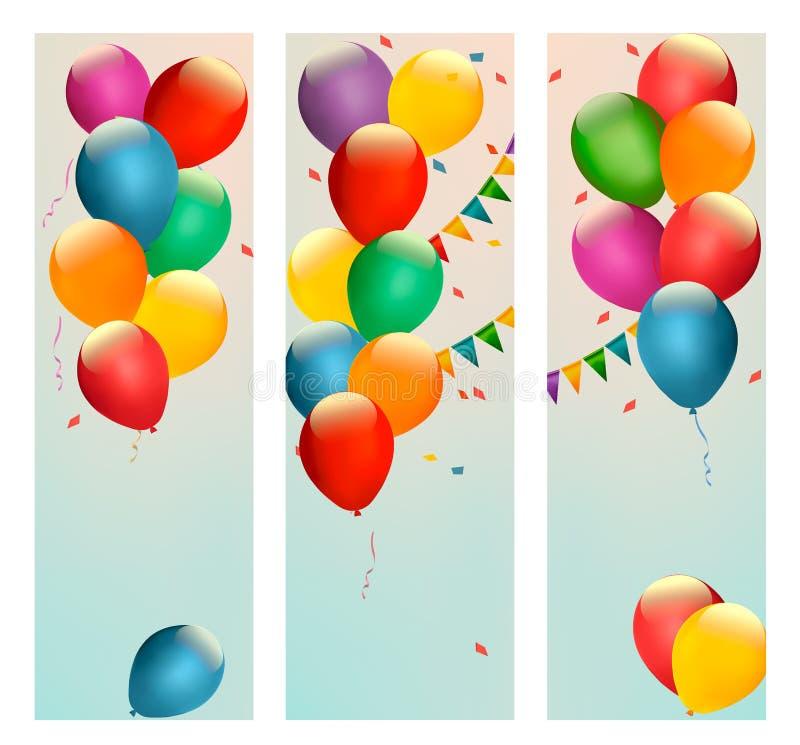 与五颜六色的气球和旗子的减速火箭的假日横幅 库存例证