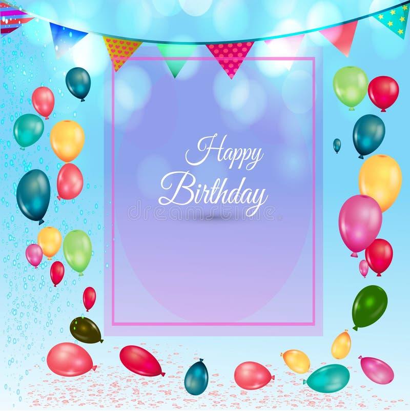 与五颜六色的气球和空的纸的生日背景 免版税图库摄影