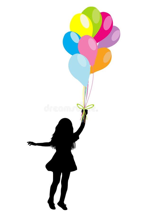与五颜六色的气球的女孩剪影 皇族释放例证