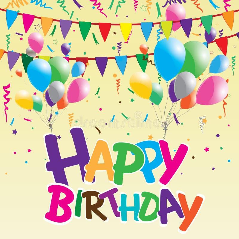 与五颜六色的气球的生日快乐党在黄色背景 在党背景的生日快乐 库存例证