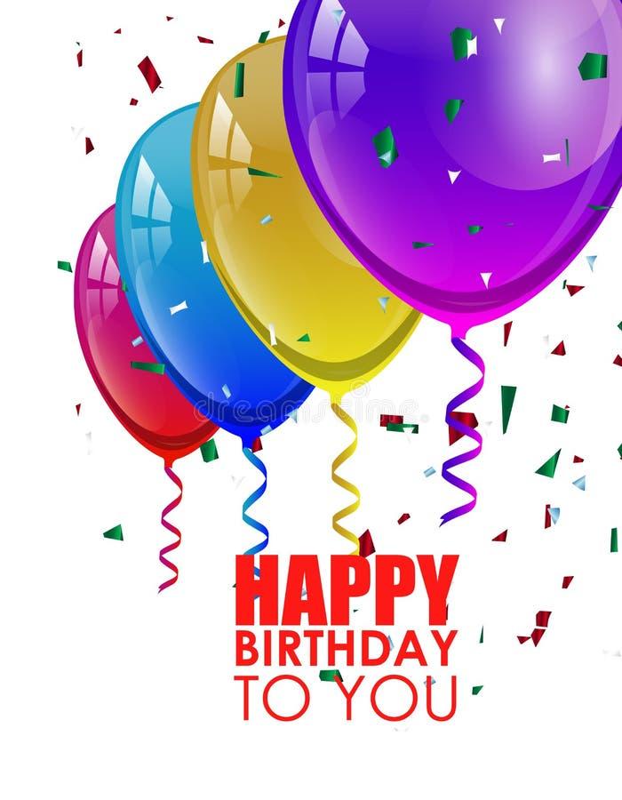 与五颜六色的气球的生日背景 图库摄影