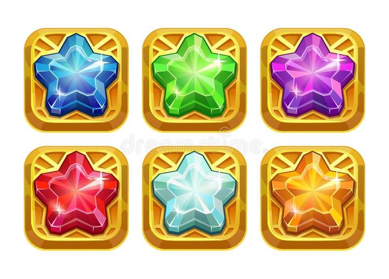 与五颜六色的水晶星的金黄护身符 库存例证