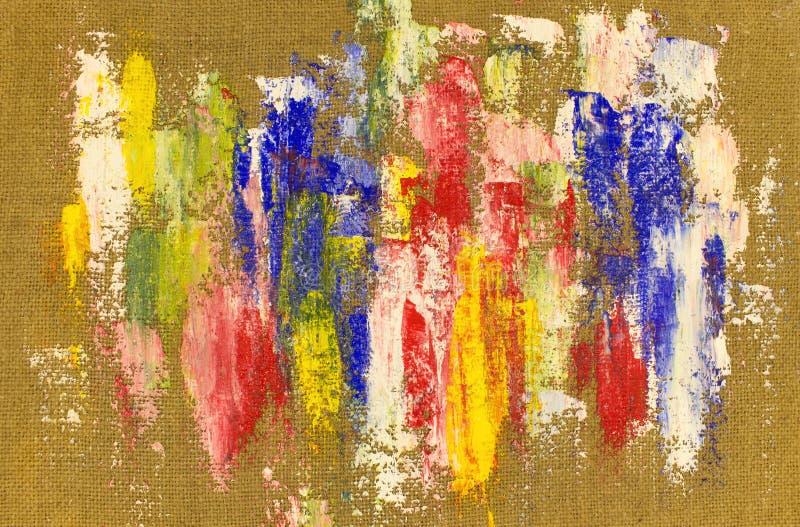 与五颜六色的油漆污迹的背景在麻袋布 免版税图库摄影