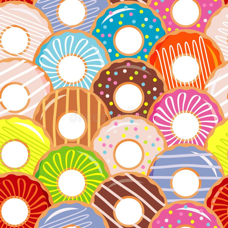 与五颜六色的油炸圈饼的无缝的样式与釉和洒 动画片点心的五颜六色的收藏 向量例证