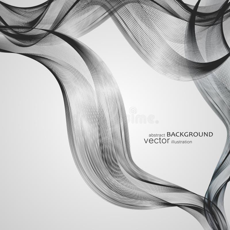 与五颜六色的波浪线的抽象背景 典雅的波浪设计 传染媒介技术 皇族释放例证