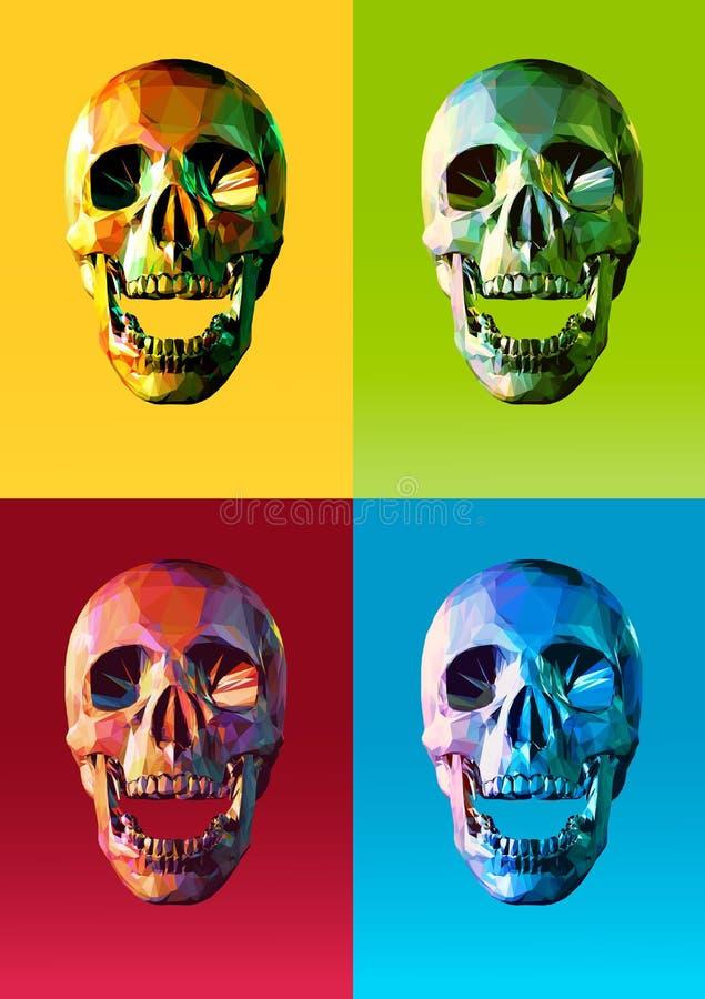 与五颜六色的流行艺术样式的低多头骨前面 皇族释放例证