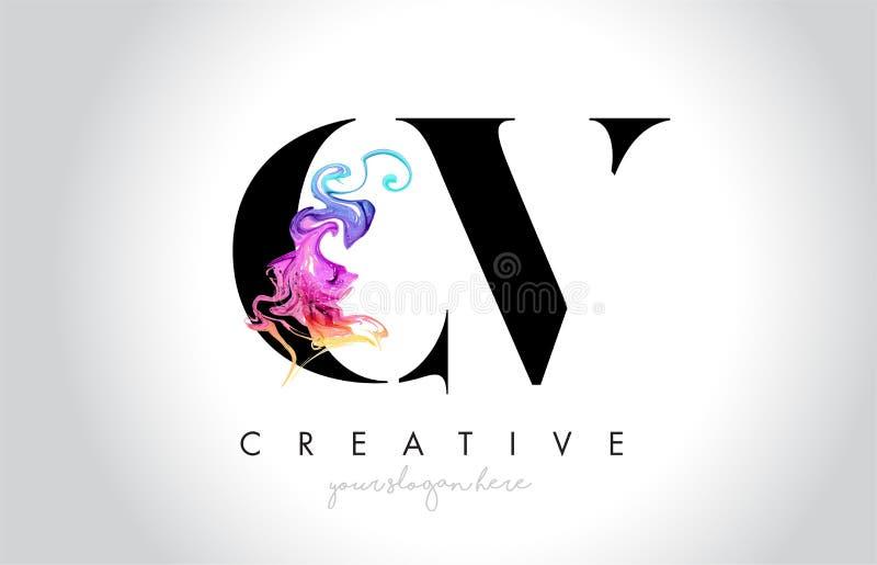 与五颜六色的烟墨水Fl的CV充满活力的创造性的Leter商标设计 向量例证