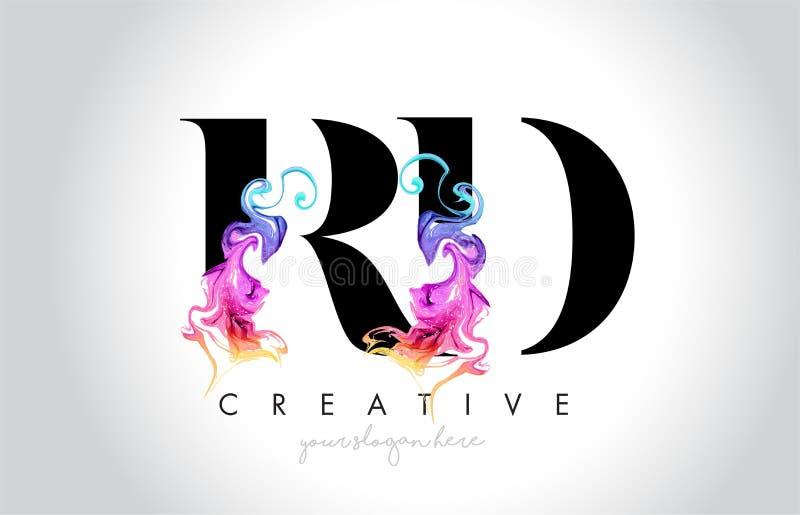 与五颜六色的烟墨水Fl的RD充满活力的创造性的Leter商标设计 向量例证