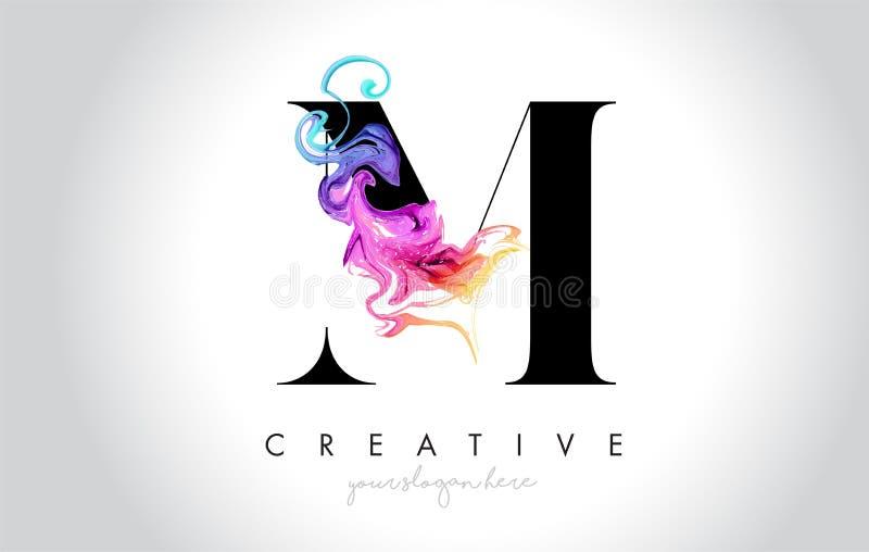 与五颜六色的烟墨水Flo的M充满活力的创造性的Leter商标设计 向量例证