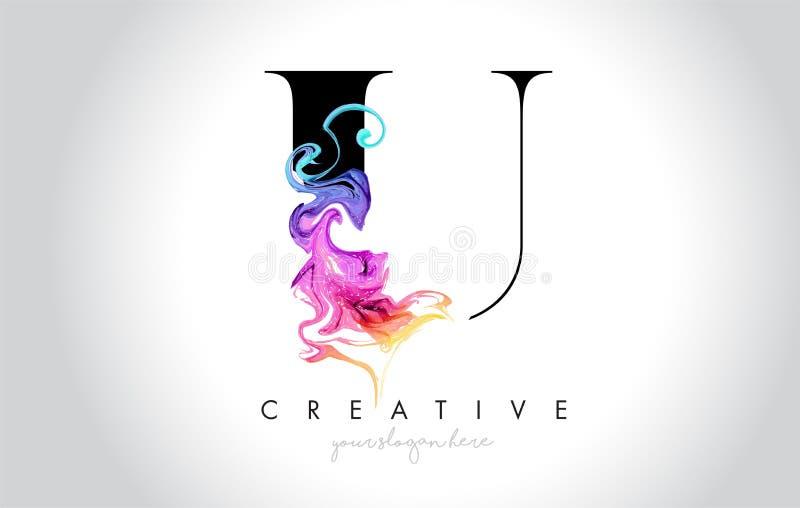 与五颜六色的烟墨水Flo的U充满活力的创造性的Leter商标设计 向量例证