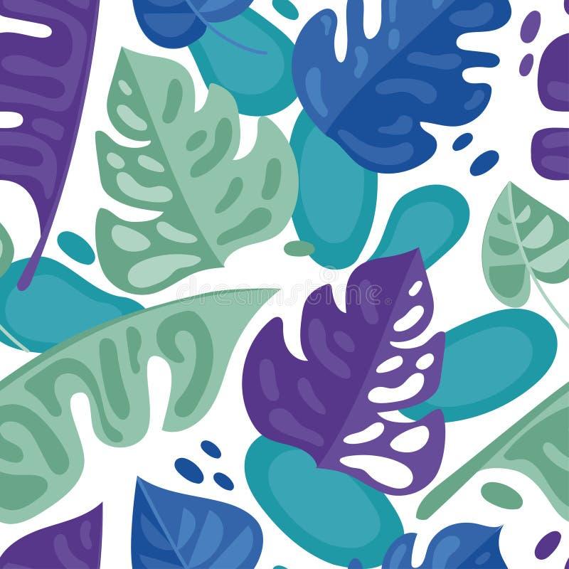 与五颜六色的热带叶子的无缝的样式在平的样式 向量例证