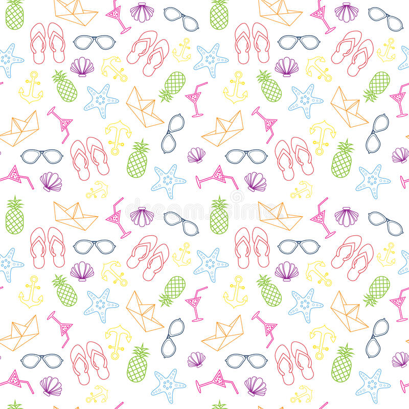 与五颜六色的热带装饰品背景样式的夏天无缝的样式 库存例证