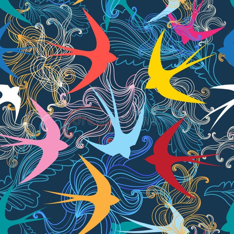 与五颜六色的燕子的图表无缝的样式 向量例证