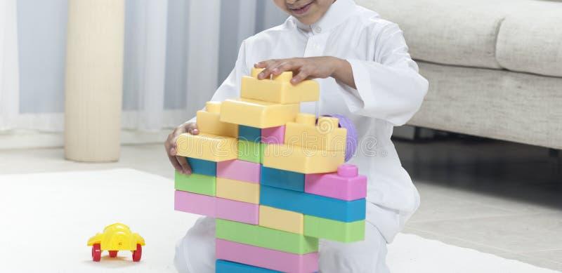 与五颜六色的玩具砖的男孩大厦在地毯 库存照片