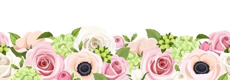 与五颜六色的玫瑰、银莲花属和八仙花属的水平的无缝的背景开花 也corel凹道例证向量 库存例证