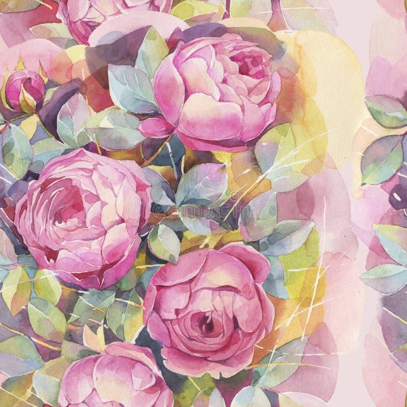 与五颜六色的玫瑰的无缝的样式 浪漫墙纸 手画水彩植物的例证 皇族释放例证