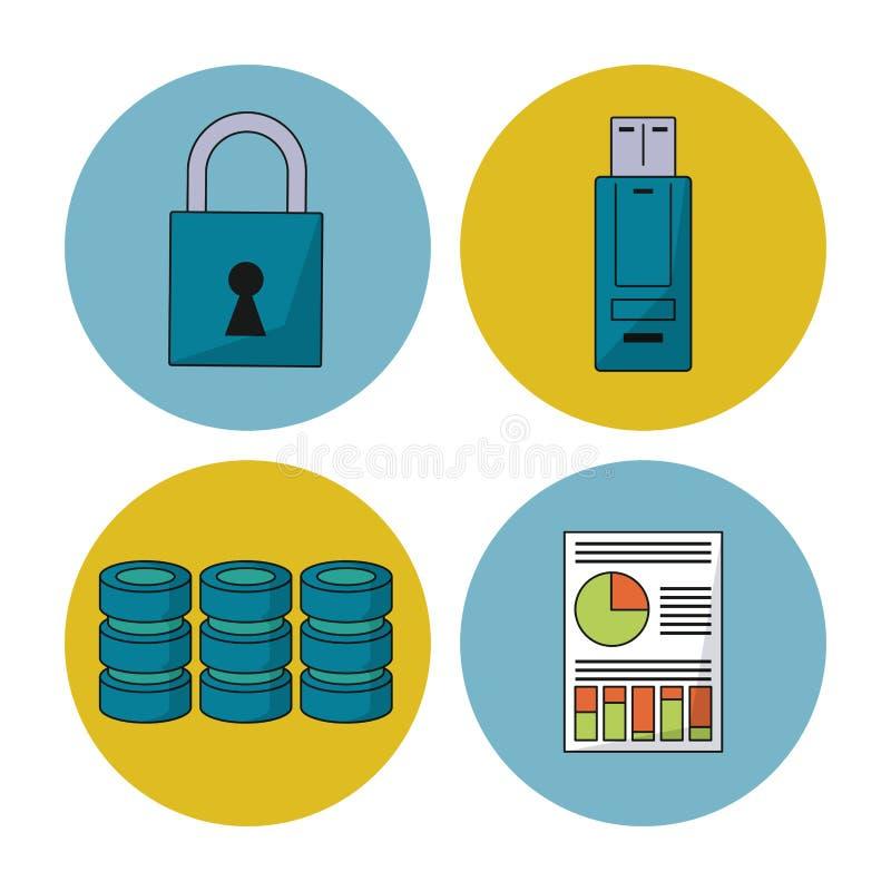 与五颜六色的球形的白色背景与安全数据和盘信息和usb记忆象  库存例证