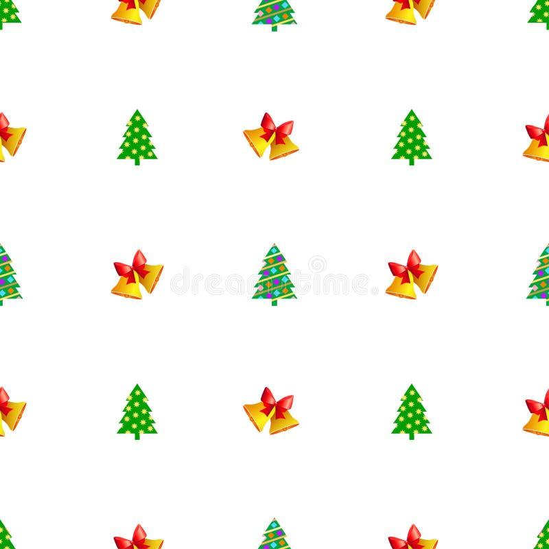 与五颜六色的球的圣诞树和在顶面无缝的样式的明亮的黄色星 在木词根的常青树 在sim的Xmas玩具 向量例证