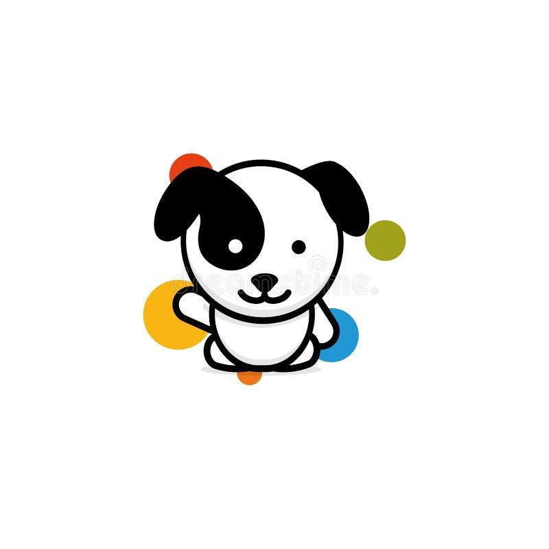 与五颜六色的球的逗人喜爱的狗欢迎挥动他的手传染媒介例证,小小狗商标,新的设计艺术,宠爱黑色 皇族释放例证