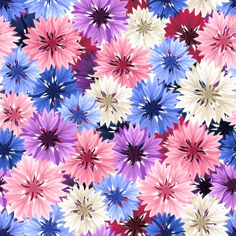 与五颜六色的矢车菊的无缝的样式 也corel凹道例证向量 向量例证