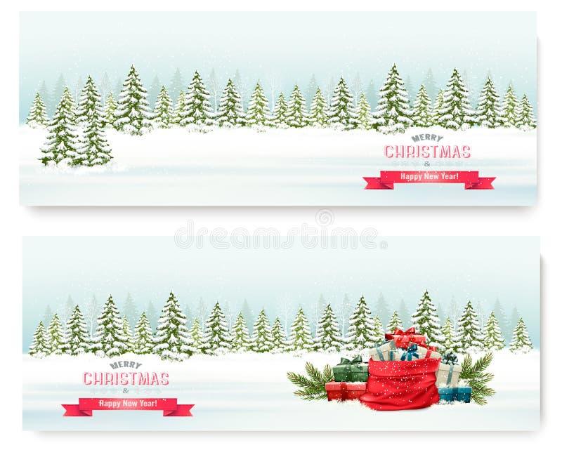 与五颜六色的礼物的两副圣诞节冬天风景横幅 向量例证