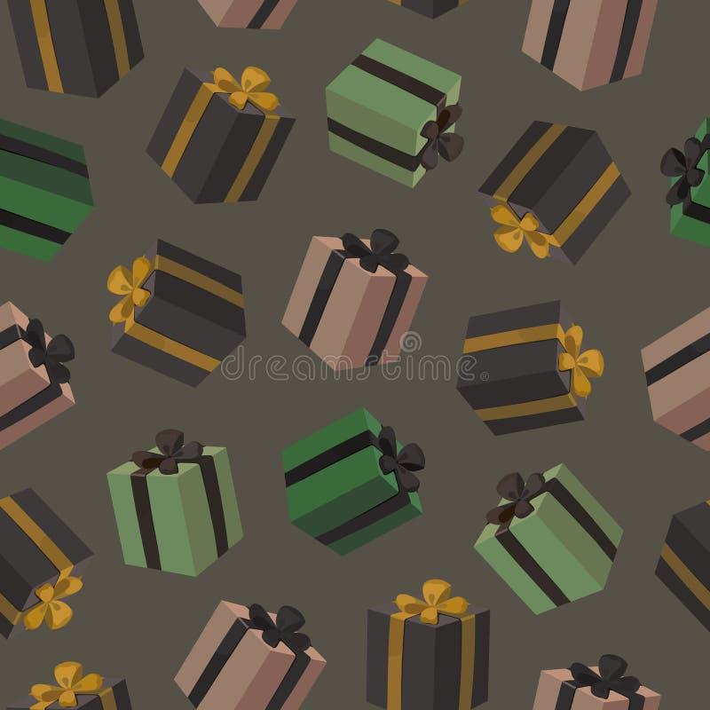 与五颜六色的礼物盒的无缝的样式在黑暗的背景 有金丝带弓的生日礼物箱子 皇族释放例证