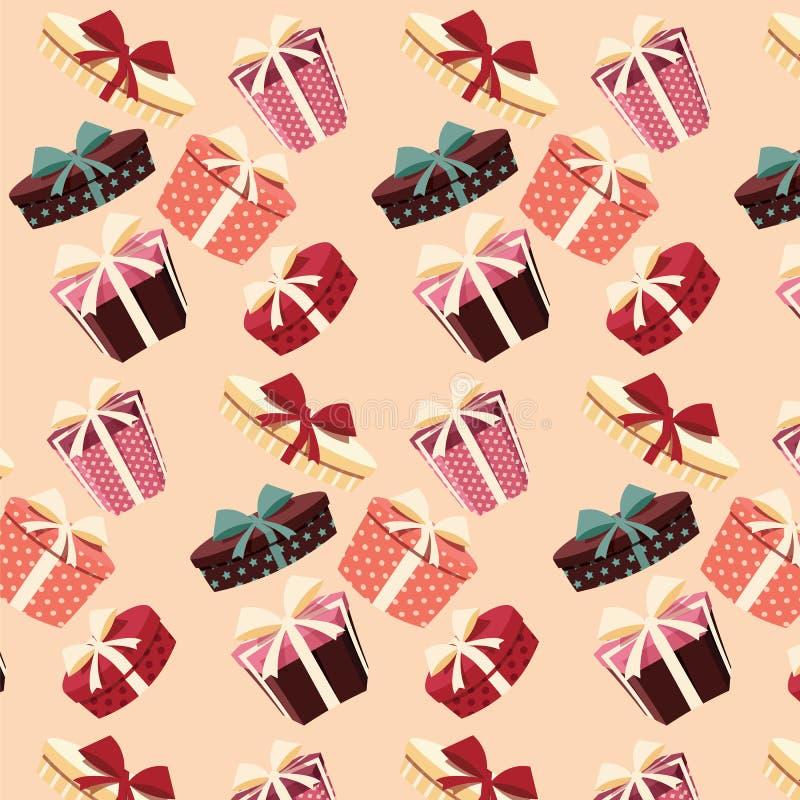 与五颜六色的礼物盒的背景,无缝的样式 向量例证
