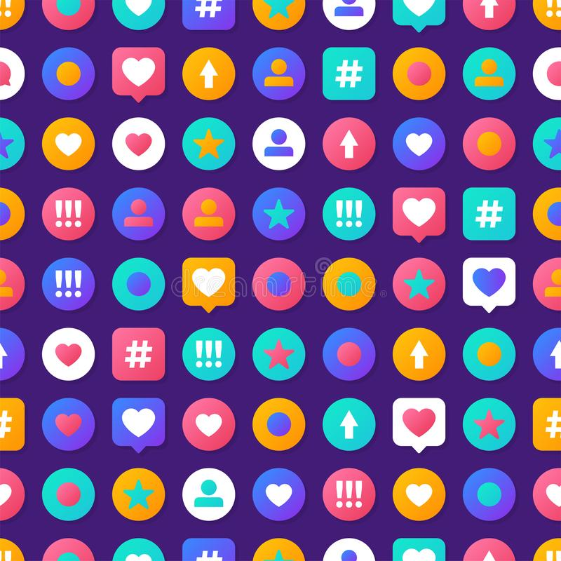 与五颜六色的社会象的传染媒介例证样式社会媒介通信概念 向量例证