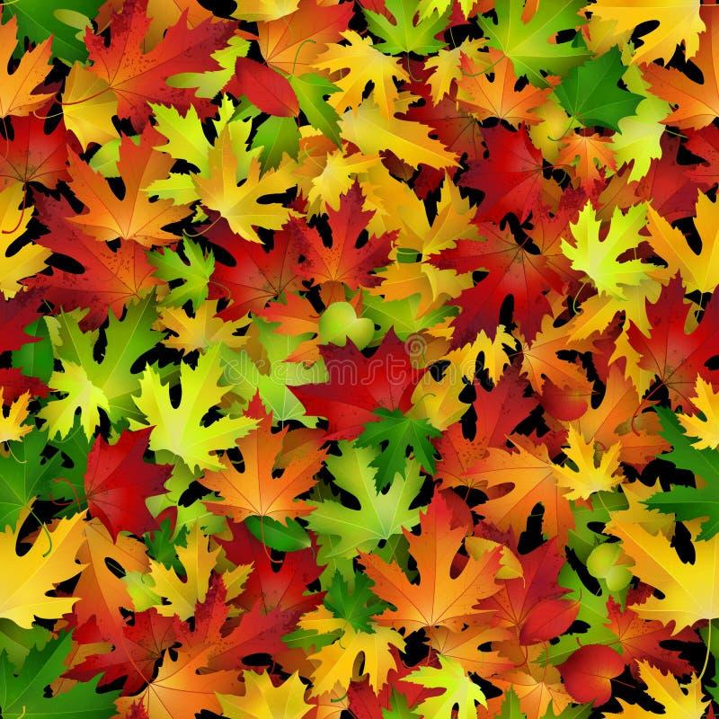 与五颜六色的秋叶的传染媒介无缝的样式 皇族释放例证