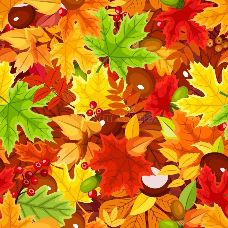 与五颜六色的秋叶的无缝的模式 也corel凹道例证向量 库存例证