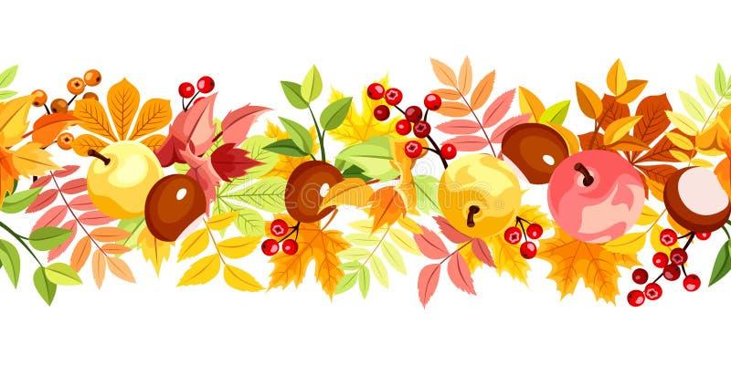 与五颜六色的秋叶的水平的无缝的背景 也corel凹道例证向量 皇族释放例证