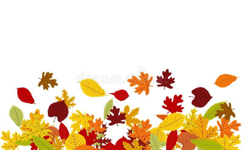 与五颜六色的秋叶边界的传染媒介背景 库存例证
