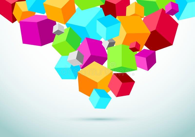 与五颜六色的立方体的抽象透视背景 向量例证