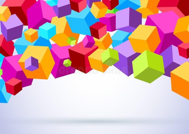 与五颜六色的立方体的背景 向量例证