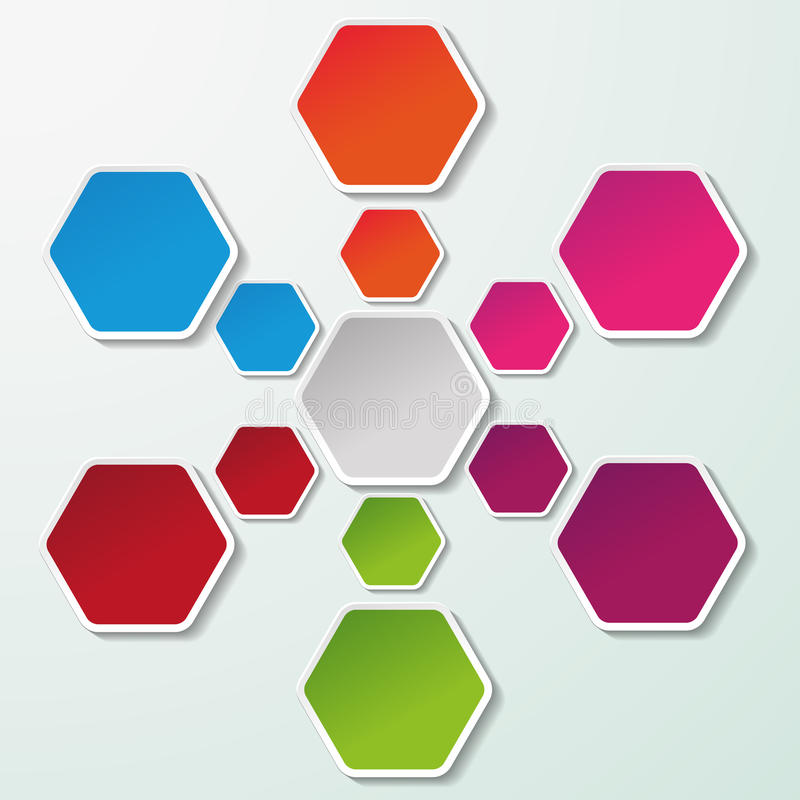 与五颜六色的纸六角形的流程图 向量例证