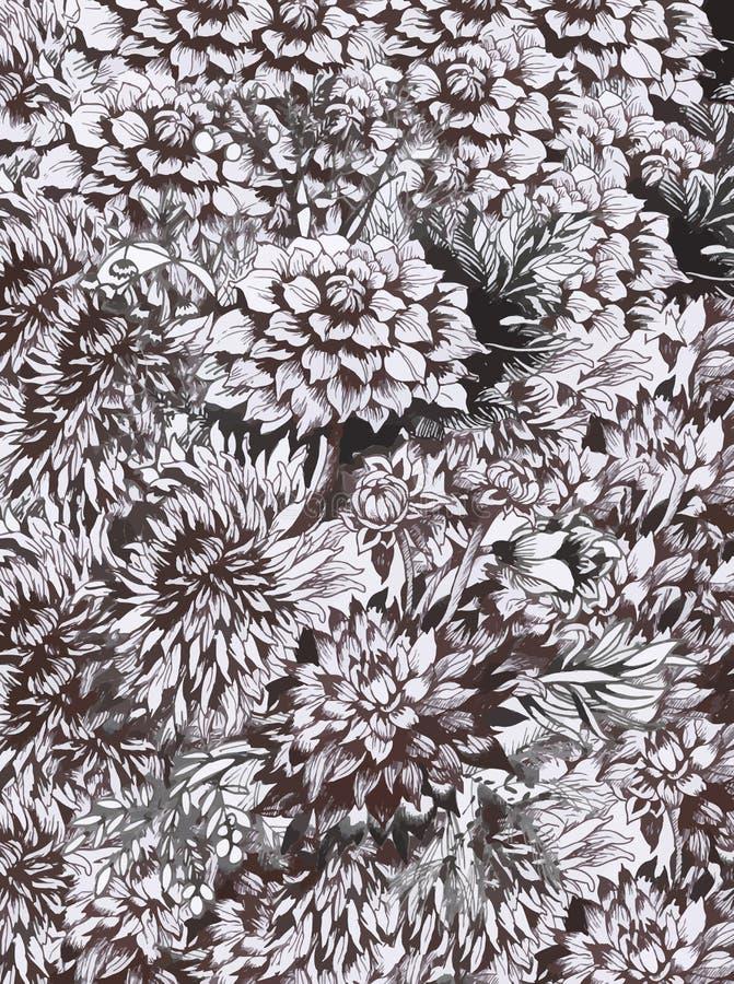 与五颜六色的美丽的花的水彩抽象花卉背景 皇族释放例证