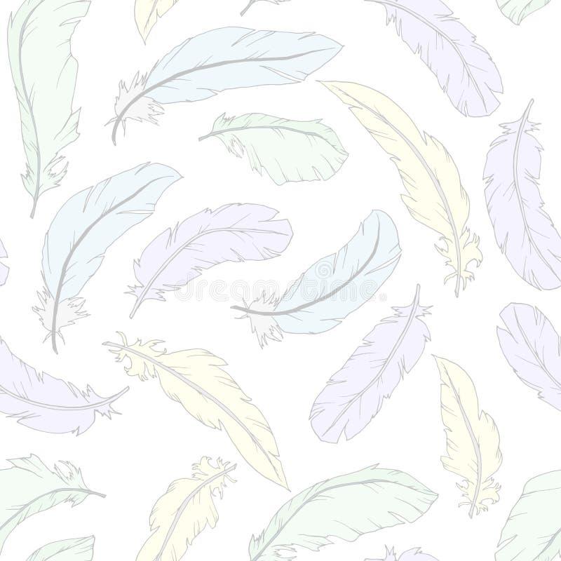 与五颜六色的羽毛的无缝的样式 向量例证