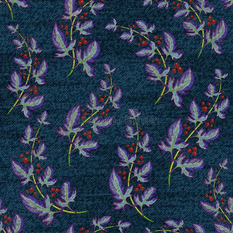 与五颜六色的花卉图案的蓝色牛仔布 向量无缝的墙纸 库存例证