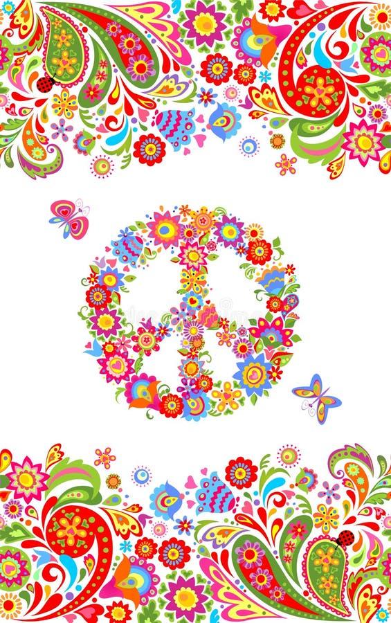 与五颜六色的花卉夏季的无缝的边界和嬉皮和平花标志的时尚印刷品衬衣设计和嬉皮的党海报的 向量例证