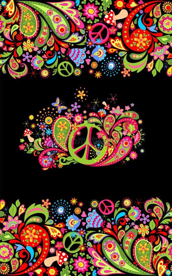 与五颜六色的花卉无缝的边界和嬉皮和平花标志的时兴的印刷品衬衣设计的和嬉皮的党海报 向量例证