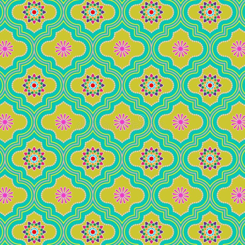 与五颜六色的花卉设计的美好的绿色五颜六色的装饰的摩洛哥无缝的样式 库存例证