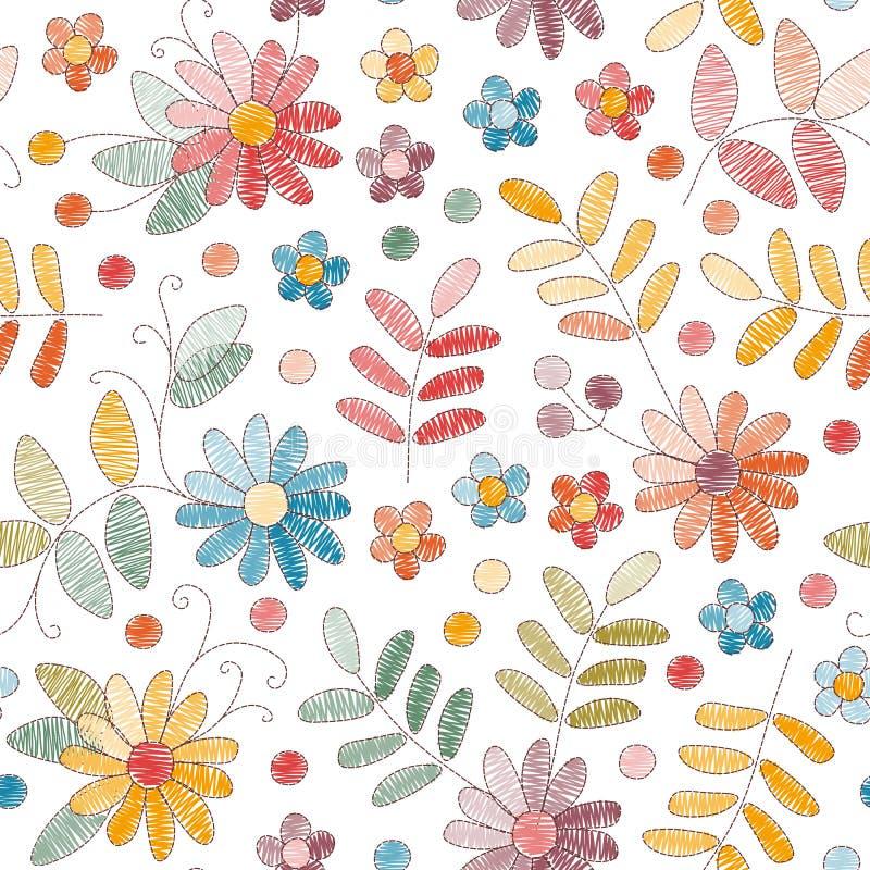 与五颜六色的花和叶子的刺绣无缝的样式在白色背景 织品的,纺织品时尚设计,包裹 皇族释放例证