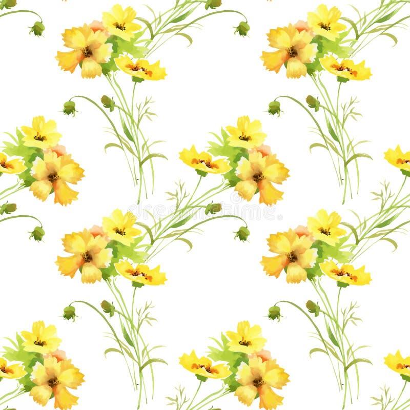 与五颜六色的花和叶子的水彩无缝的样式在白色背景,水彩花卉样式,花 库存例证